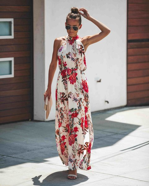 Womens Casual Dresses Long Summer Sleeveless Printed Dresses 2019 New Arrival Casual Holiday Beach Dress Tops Long Skirts