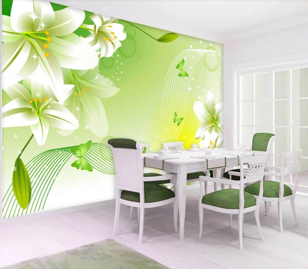 Custom any size photo Fresh lily TV background wall wallpaper for walls 3 d for living room