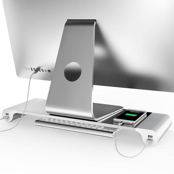 Aluminiumlegierungs-Monitorstandplatz-Raum-Bar-Dock-Schreibtisch-Riser with4 USB-Anschlüsse für iMac MacBook Computer-Laptop-Geräte