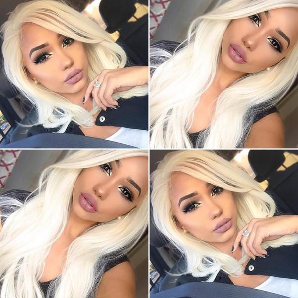 Bob courte brésilienne 100% perruque de cheveux humains Lace Front Wig 613 blonde pleine perruque de dentelle avec des cheveux de bébé sans perte Peut être permanentée