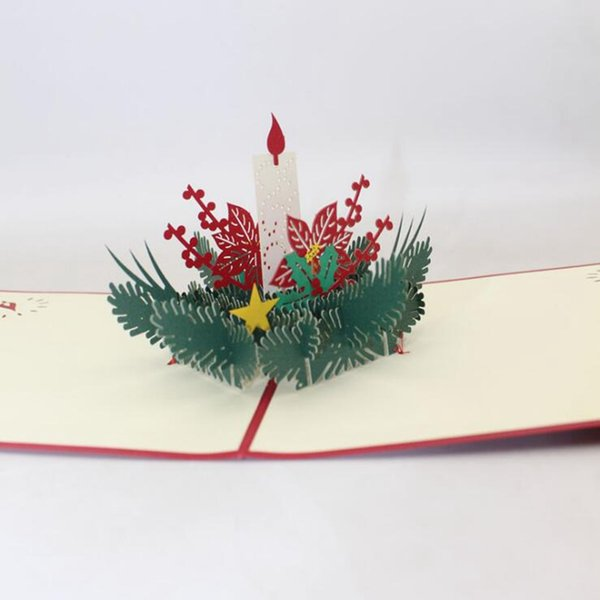 New style 3D Christmas greeting/message card paper cutting Christmas New Year gift card free shipping