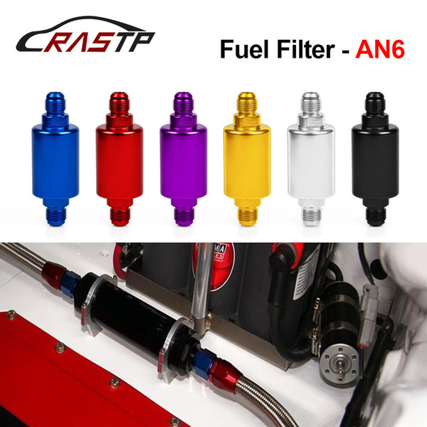 top popular RASTP - Wholesale High Quality Universal Car Flow Performance Mini Fuel Filter AN6 Male Inlet Outlet Have stock RS-OFI002 2020