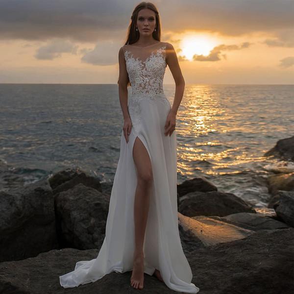 Chic A-line Thigh High Slits Beach Wedding Dresses Scoop Neck Lace Appliques with Beading Boho Bridal Dress Chiffon Summer vestido de novia