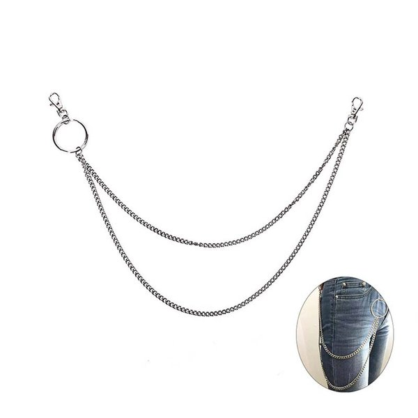 2 Layers 58cm Rock Punk Trousers Hipster Key Chains Street Big Ring Key Chain Pant Jean Keychain HipHop Pop Accessories