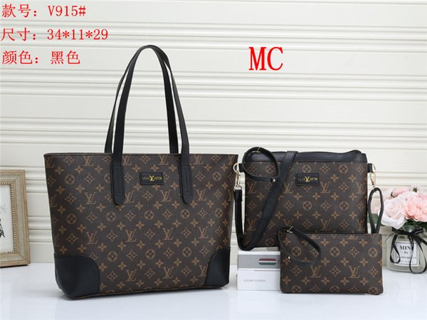top popular Europe women bag High capacity Shoulder leather Travel Messenger bag 3 unids set Mother Package bag 2020