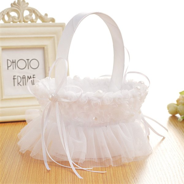 White Wedding Flower Basket With Elegant Satin Round And Pink Rose Flower Girl Baskets Wedding Favors Decoration CPA1912