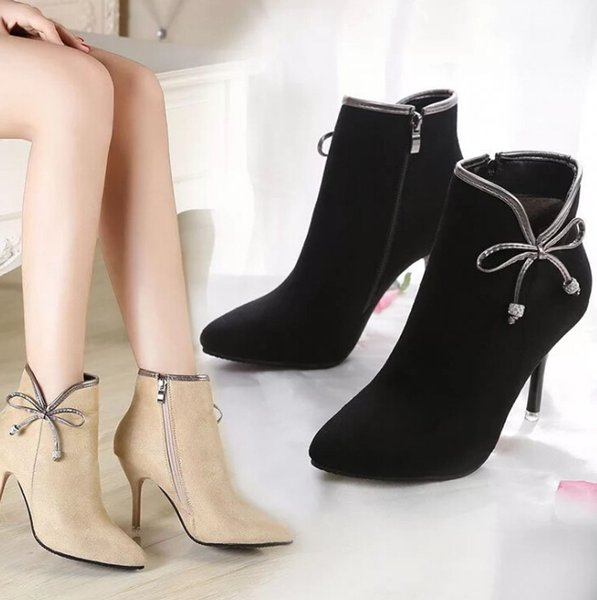winter new high heel stiletto korean fashion women's boots bow slip warm women's shoes