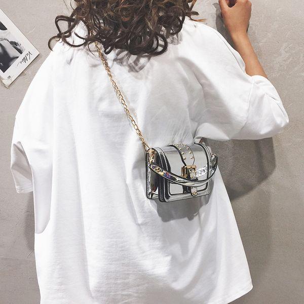 Mini bolsa de asas del bolso 2019 monederos verano nueva calidad Charol diseñador de las mujeres bolso de bloqueo de la cadena del remache mensajero del hombro