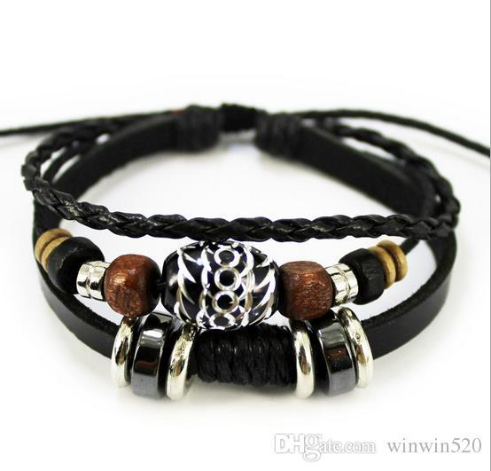 2019 Mix 8 colors Design Bracelet green natural stone bracelet handmade leather bracelet For Women