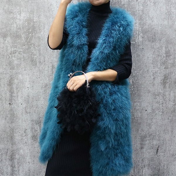 Long turkey feather fur vest autumn and winter women's sleeveless slim solid color V-neck ostrich feather waistcoat female SH190922