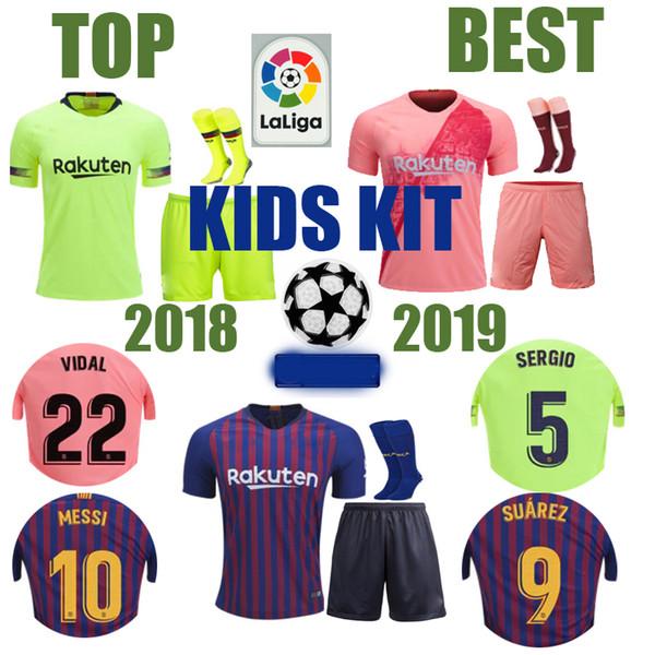 KIT DE NIÑOS de la mejor calidad Messi Barca Barcelona Jersey 2018 2019 Nuevo SUAREZ Griezmann MALCOM PIQUE ARTHUR VIDAL hogar lejos Soccer Jerseys