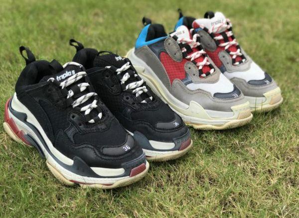 Moda paris geox triplo s sapatilhas para homens mulheres preto vermelho branco verde casual pai sapatos de tênis aumento sapato