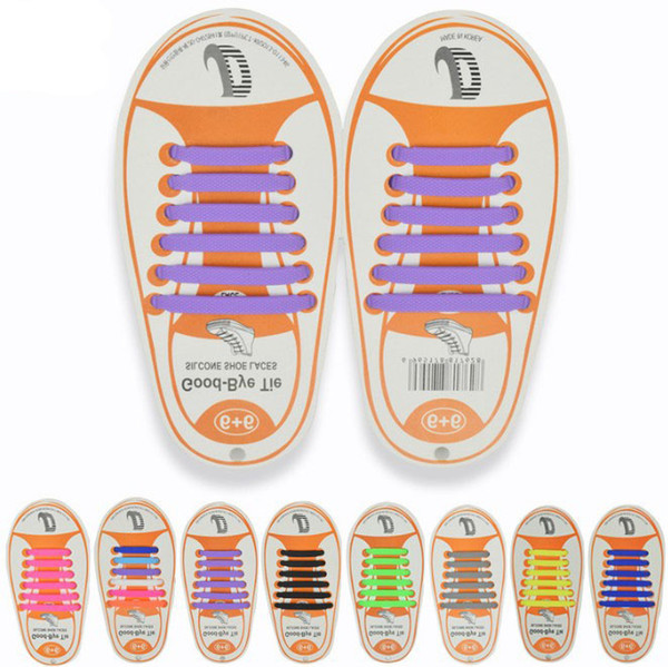 13 Colors Unisex Easy No Tie Shoelaces Kids Silicone Elastic Shoe Laces Kids Running Shoelaces Fit All Sneakers 12pcs/set B11