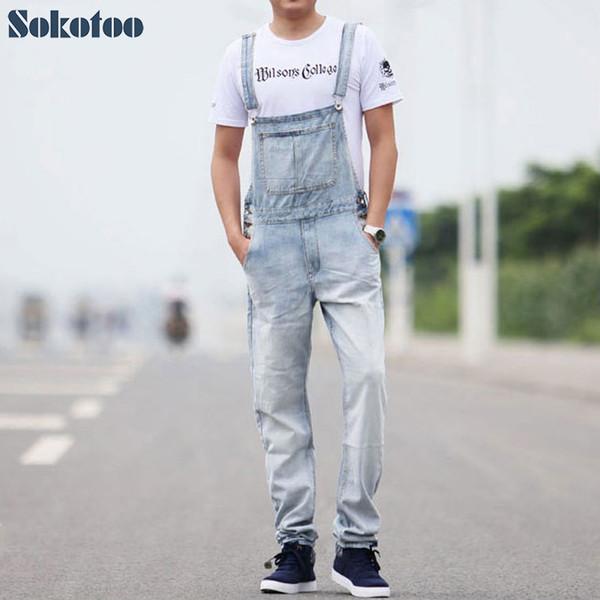 Sokotoo Men's casual overalls Thin denim jumpsuits Plus size loose vintage blue white jeans