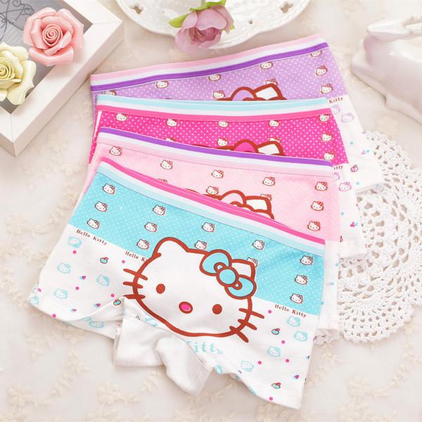 top popular 4pcs Lot Children Girls Cat Underwear Kids Fashion Character Boxer Brief Infant Baby Girl Panties ropa interior ninos 2019