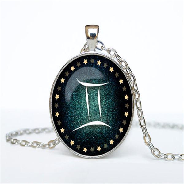 Women Men 12 Constellations Zodiac Gemini Time Gem Glass Cabochon Alloy Pendant Necklace Vintage Silver Color Long Link Chain Choker Jewelry