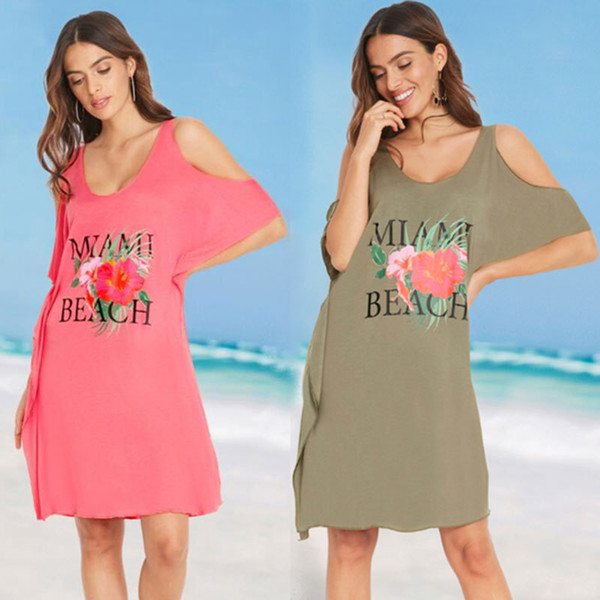 Cover Up costume da bagno della spiaggia di estate vestito lungo Beachwear Donna Donne costume da bagno Nuovo Stampato in maglia cotone elastico sexy allentata Stampa