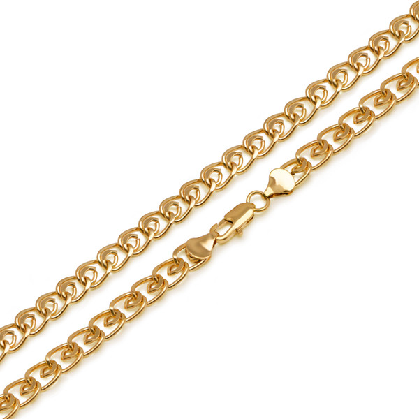 (281N) 60 cm Long Chain Necklaces For Men 24k Pure Gold Plated 5 mm width Jewelry Fashion Lead and Nickel Free