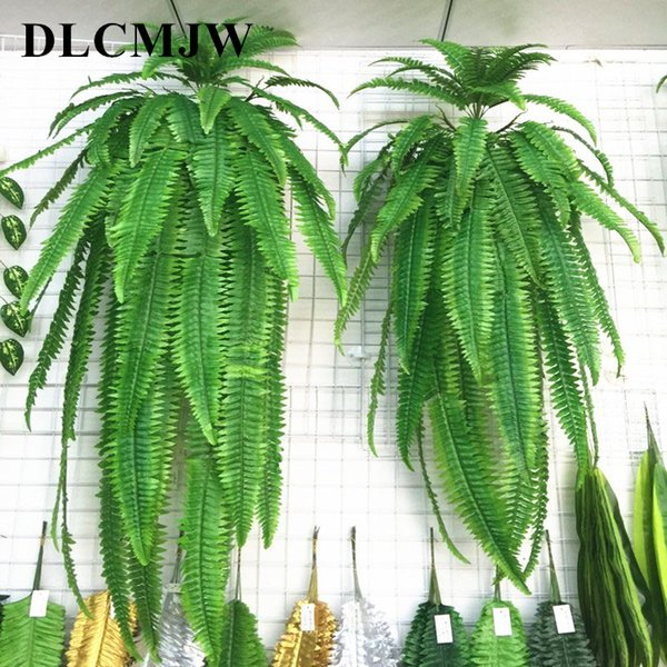 Simulation grass adornment grass green plant pot plants hanging row fern leaf persian leaves wall planted decoration