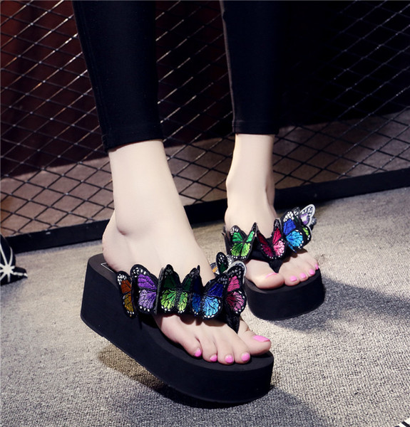 2019 summer ladies handmade pansies cute fashion beach woman slippers seaside vacation slip wear wedges flip flops