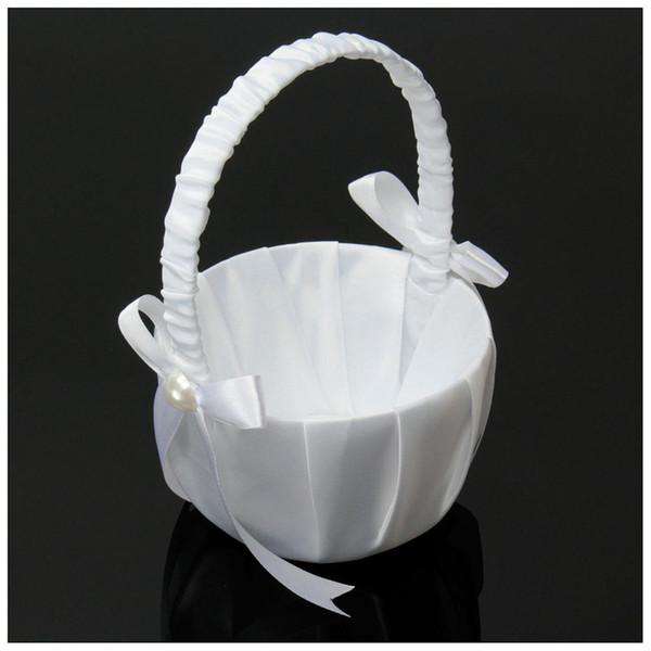 Ceremonia de boda de la cesta de niña de flores de perla de flores de perlas románticas de satén blanco