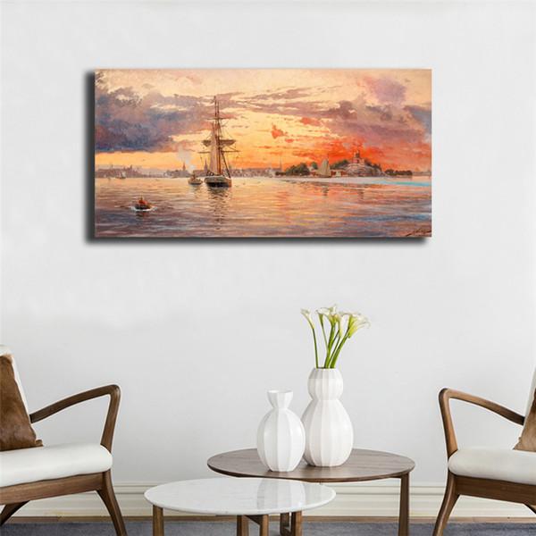 Sonnenlicht Seascape Boot Kunst Gemälde Leinwand Bild Öl Für Wohnzimmer Poster An Der Wand Dekoration