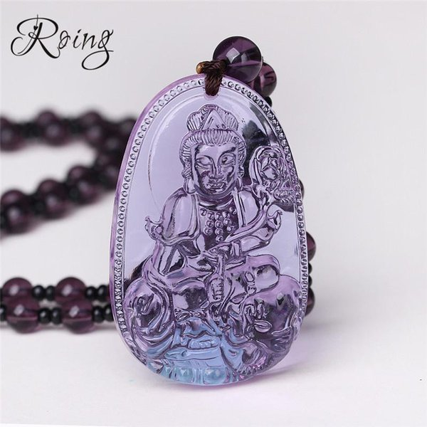 Roing Gothic Natural Stone Buddha Pendant Amethyst Necklace Guardian Ball Chain Lucky Gift Crystal Carved Women Men Jewelry F005