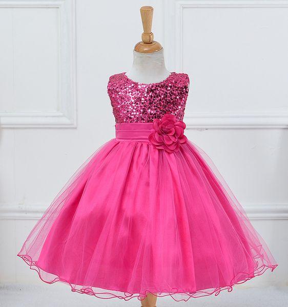 Baby Girls Dress Party Lace Dress Kids 9 colors Rose Flower Dresses Children Clothes Girls Wedding Party Princess Dresses
