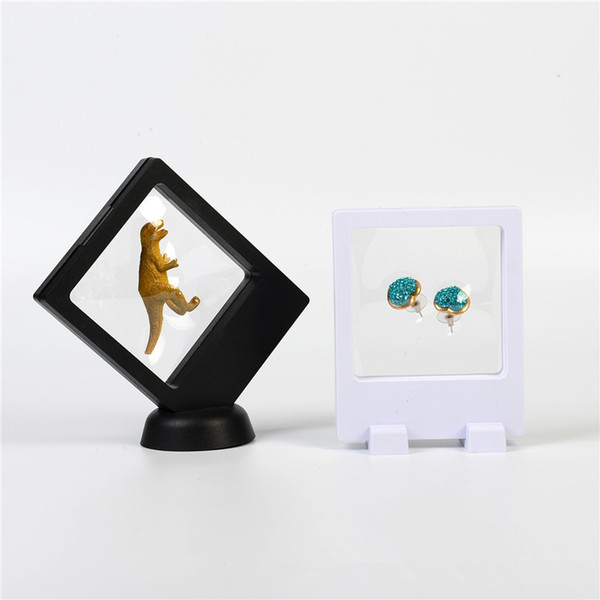 90*110*2mm PET Membrane box Stand Holder Floating Display Case Earring Gems Ring Jewelry Suspension Packaging Boxes F3063
