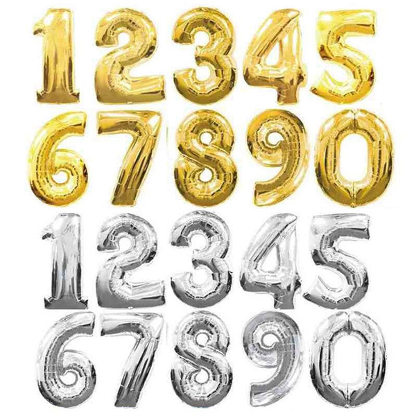 best selling 32 Inch Helium Air Balloon Number Letter Shaped Gold Silver Inflatable Ballons Birthday Wedding Decoration Event Party Supplies