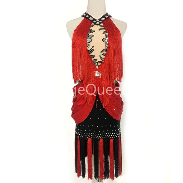Rhinestones Competition Latin Dance Dress Women Salsa Samba Carnival Costume Tango Clothes Fringe Dancewear For Girls Black Red