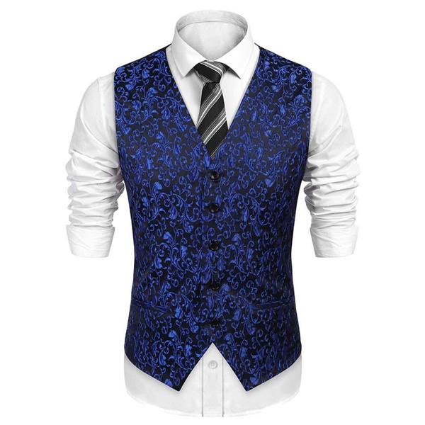 Tute da uomo Tasche Jacquard Match Tuxedo Vest gilet formale, tasche finte, fibbia per cintura Tutta la stagione