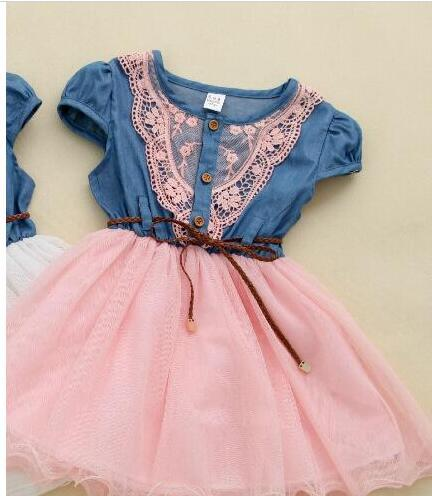 Wholesale - Summer Korean Girls Denim Gauze Tutu Dress Girl Sweet Ruffle Dress with Belt Short Sleeve Baby Kids Princess Dress