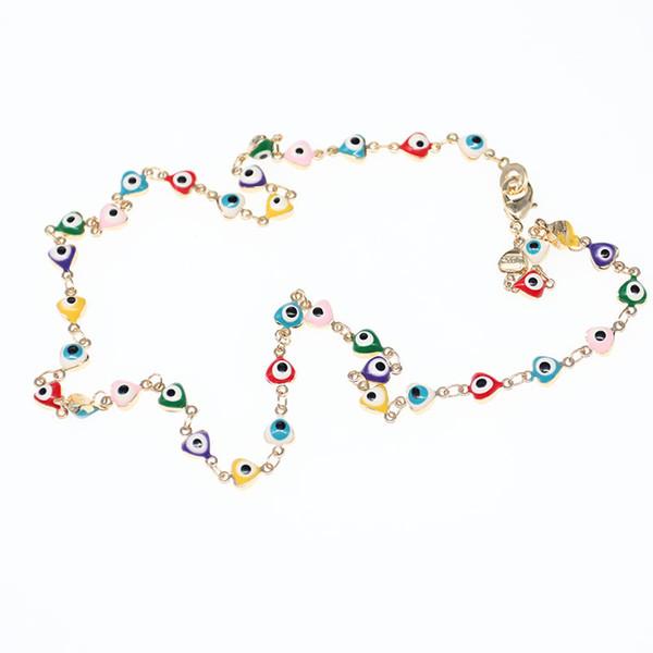Children long chain Multicolour rainbow glass bead necklace funny heart shape rhinestone crystal Evil charms eye Necklace