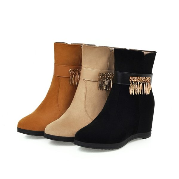 top popular Plus size 32 33 to 40 41 42 43 Sexy Wedge Ankle Boots Women Designer Bootie Beige Black Brown Come With Box 2021