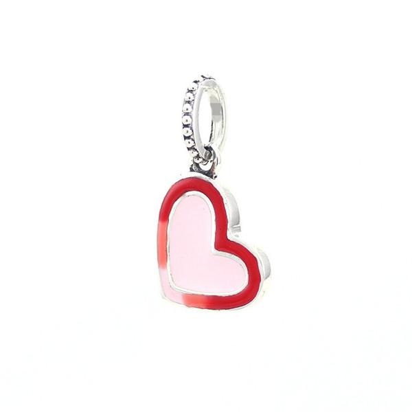Nuova 925 Argento Perle Charm rosso al rosa pallido asimmetrica Heart of Love ciondola branelli di fascino del pendente di marca del braccialetto di fascino Gioielli fai da te