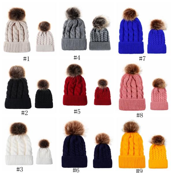 Осенью и зимой мяч твист вязать шляпу Теплый женский родитель-ребенок имитация косу волосы мяч шерсти колпачок EEA559