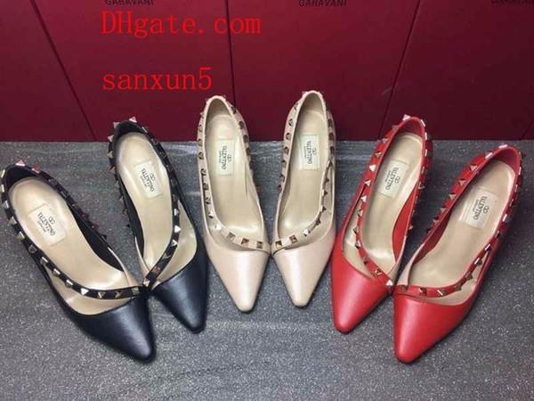 Высокие каблуки с шипами 2019 новые кожаные мелкие рты простые женские туфли