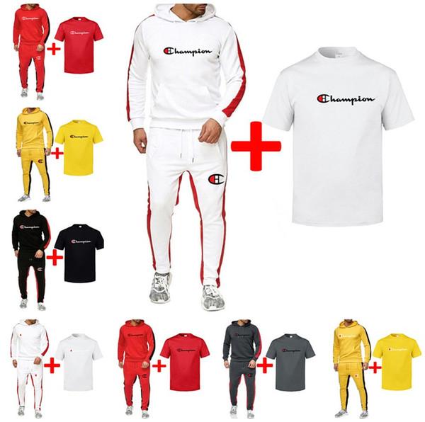 Champion Brand Conjunto de ropa de 3 piezas para hombre Sudaderas con capucha + Camiseta de manga corta + Pantalones Chándales Ropa deportiva masculina de lujo Popular Jogger Suit B82302