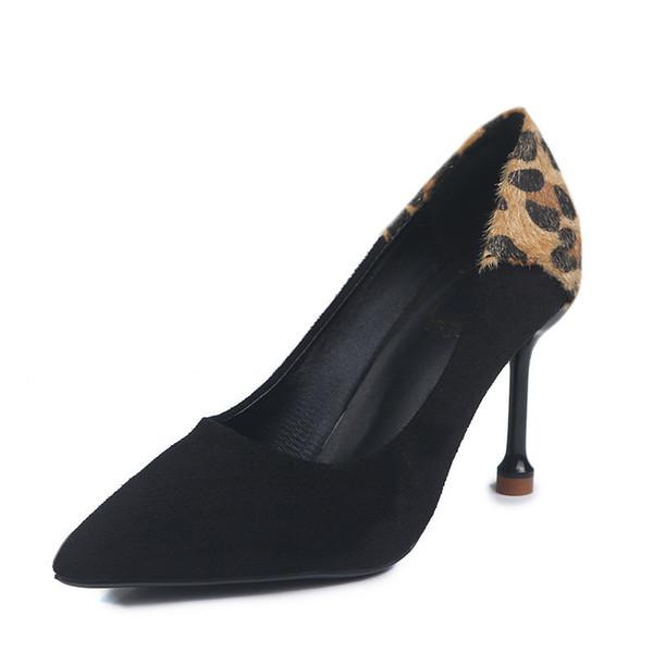 Mulheres Sapatos de Bombas de Leopardo Sapatos De Salto Alto 2019 Primavera New Office Lady Dedo Do Pé Apontado Sexy 8.5 Cm Sapatos de Casamento Sapato Feminino