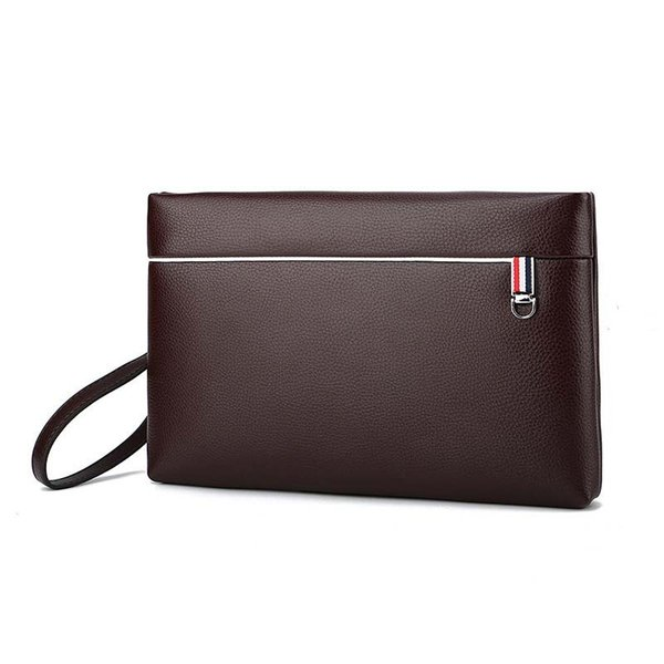 30pcs Clutch Bags Men PU Large Capacity Business envelope bag Black Brown Long Purse handbag