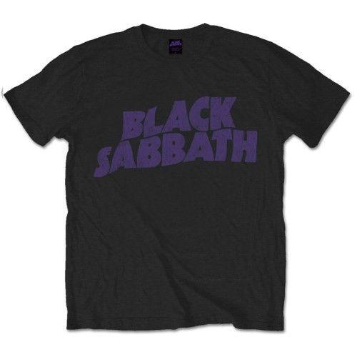 Black Sabbath Mens Black T-shirt viola ondulati logo Vintage