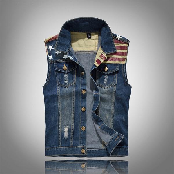 CALOFE Männer Jeans Weste Mantel Nationalflagge Drucken Ärmellose Jacke Frühling Männliche Streetwear Cowboy Weste Jacke