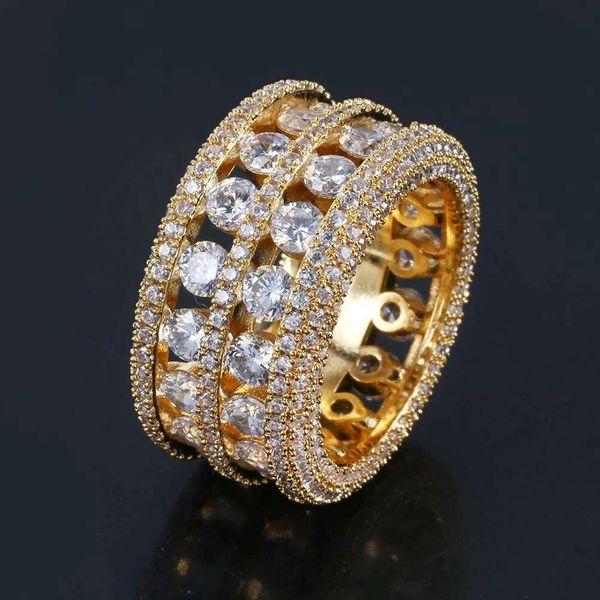 hip hop plein diamants bagues avec des pierres de côté pour les hommes de luxe bague en cristal western vente chaude 18k plaqué or cuivre zircon bijoux cadeaux pour bf
