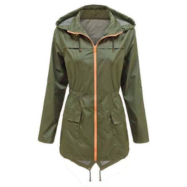 Women Slim Waist Waterproof Hooded Coat Casual Windproof Outwear With Pockets Solid Zippers Trench