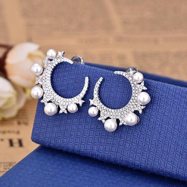 Европа и Америка хрустальные бриллианты, изогнутая луна, звезды, серьги с речным жемчугом, модные серьги