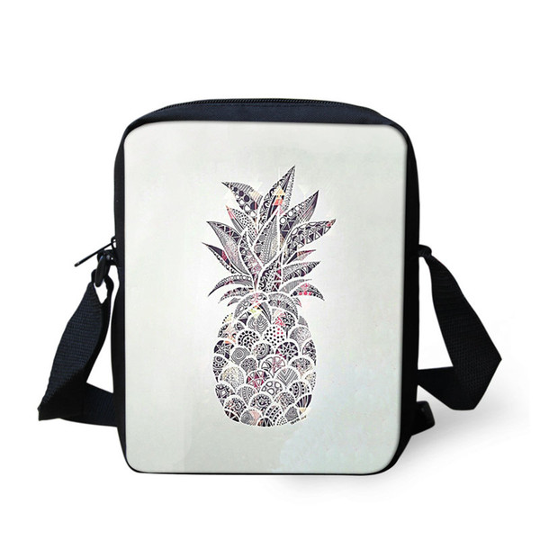 THIKIN Small Cartoon Cactus Pineapple Printed Women Ladies Messenger Bag Girls Mini Bags Cute Kids Crossbody Bags Ladies Handbag
