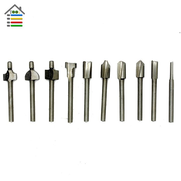 drill bit AUTOTOOLHOME 10pcs 1/8 3mm Shank HSS Router drill Bits Wood Cutter Milling for Dremel Rotary Tool Set fit metal Metalworking