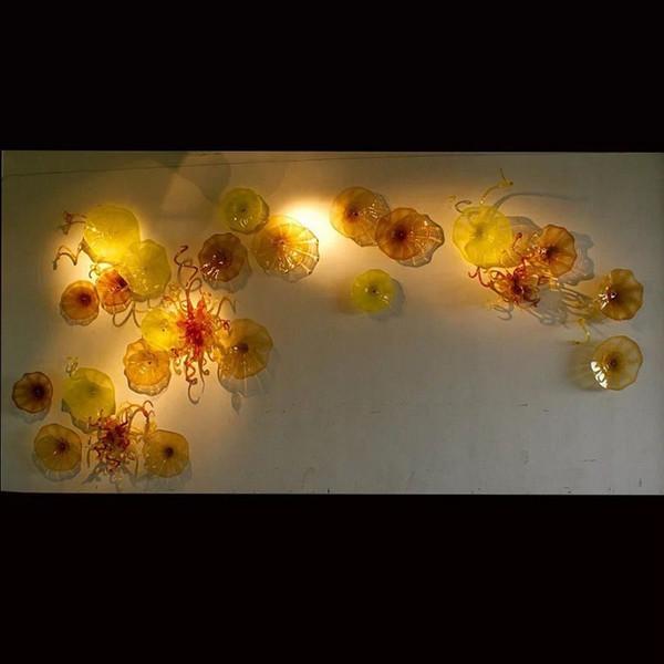 желтый и красный Сгорел плиты стекла Современные декоративные стеклянные стены Art Производитель Турецкий стиль Горячий продавая стекла Свет стены