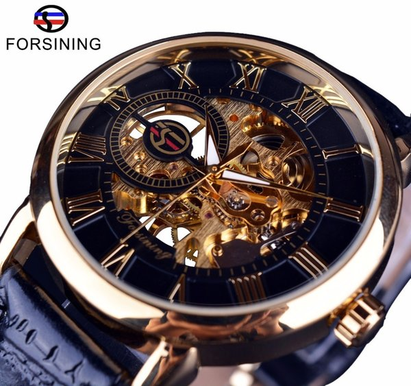 Forsining Men Watches Top Brand Luxury Mechanical Skeleton Watch Black Golden 3d Literal Design Roman Number Black Dial Clock J190705